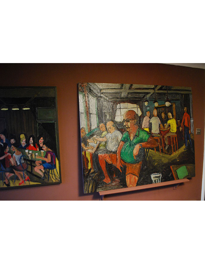 """Installation View, """"The Cock Tavern Paintings, Part 1"""" at Ladette Space, March 2015"""