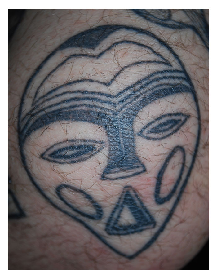 """""""West African Mask"""", Tattoo, 2015"""