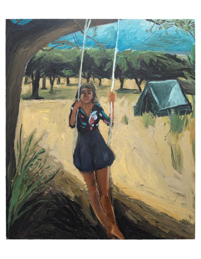 """Girl on a Swing"", Oil on Plywood, Mounted on Aluminium, 2015"