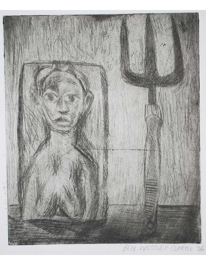 """""""Still Life with African Sculpture and Garden Fork"""", Drypoint, 2016"""