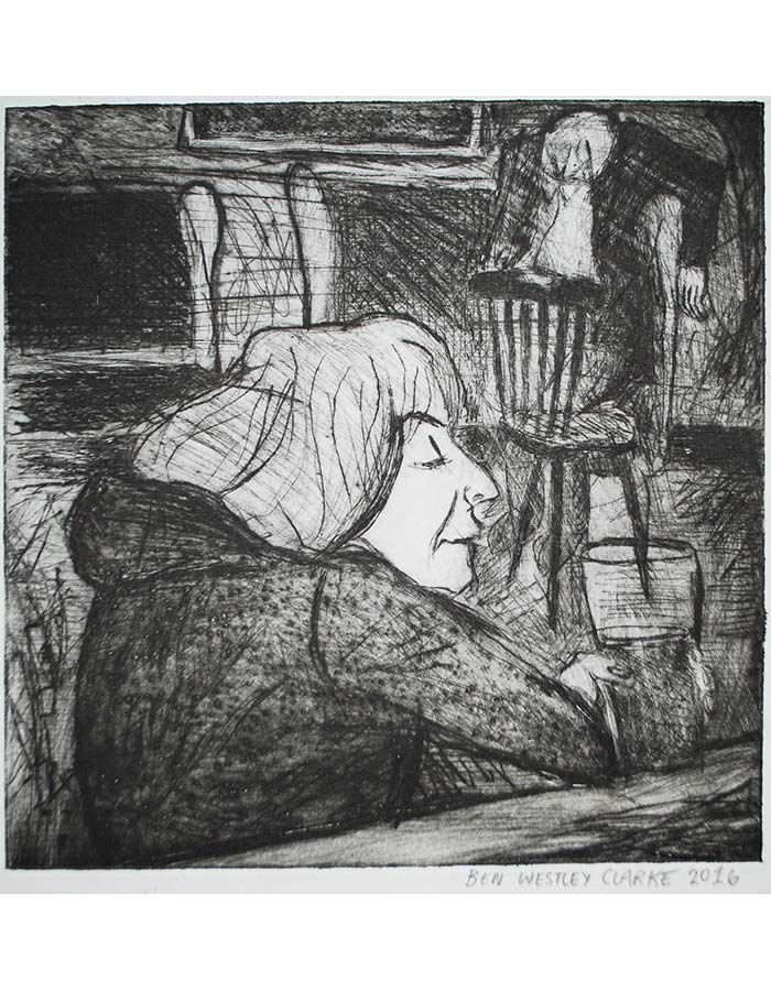 """""""Drinker at The Cock Tavern"""", Drypoint, 2016"""