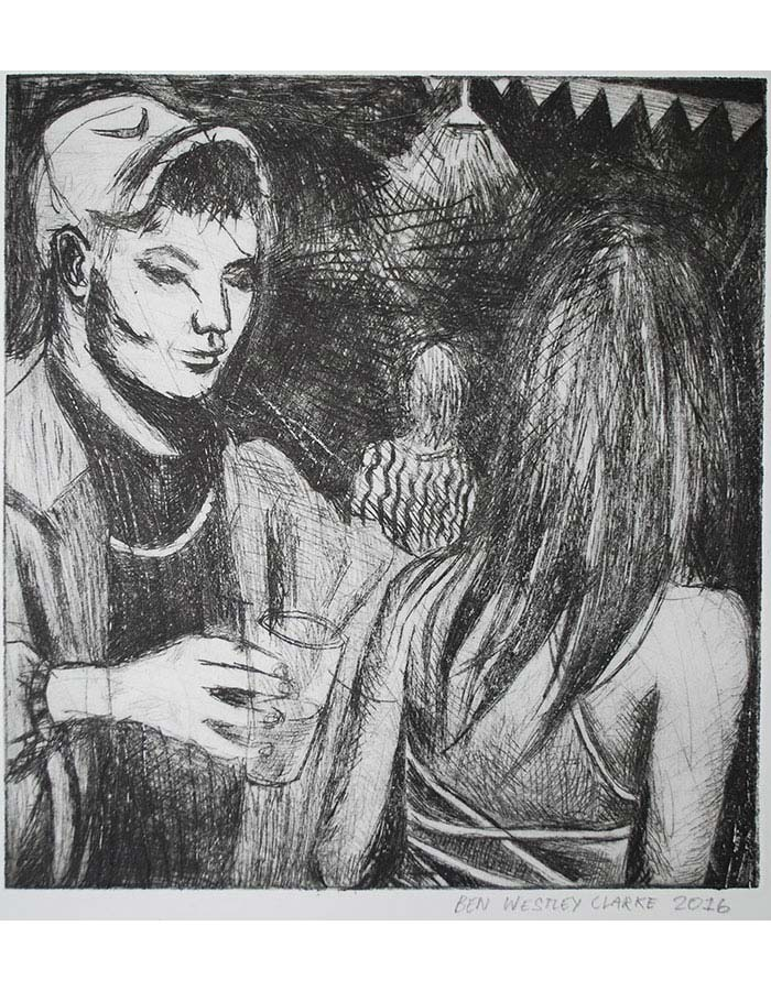 """""""UKG Party"""", Drypoint, 2016"""
