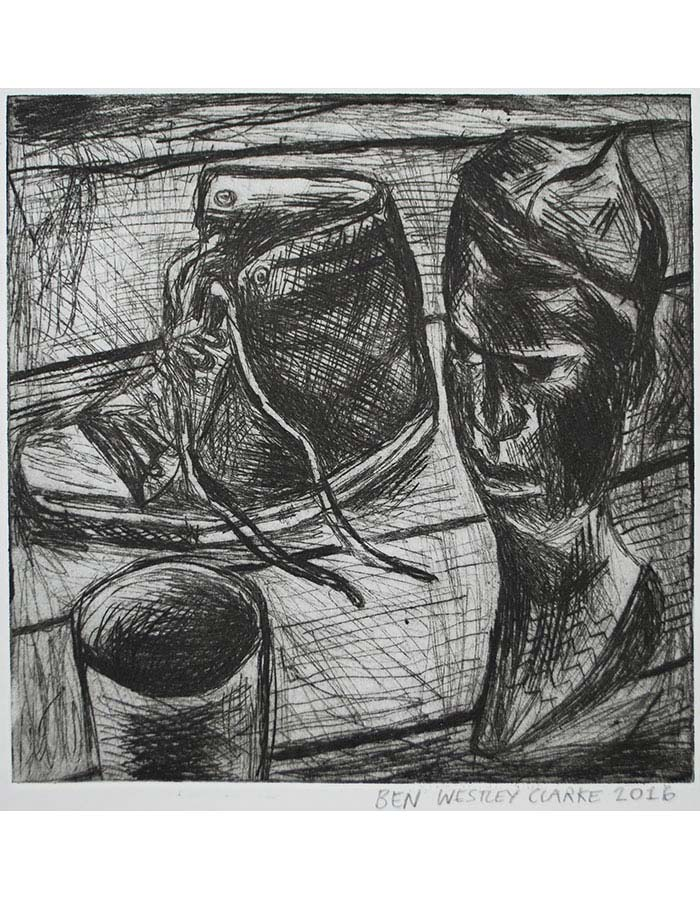 """""""Still Life with African Sculpture and Shoe"""", Drypoint, 2016"""