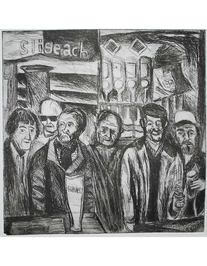 """""""Men at The Cock Tavern"""", Drypoint, 2016"""