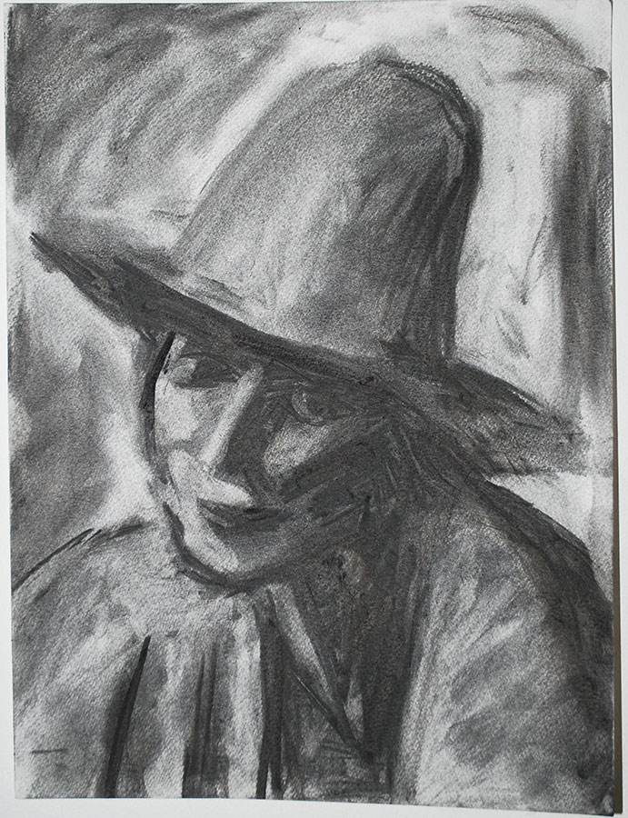 Study After David Bomberg's 'The Red Hat', Charcoal on Paper, 2016