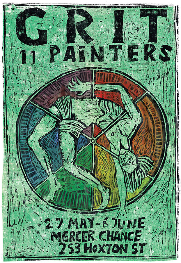 """""""Grit: 11 Painters"""" Poster, Hand-Tinted woodcut on paper, 2016, Ben Westley Clarke x Rebecca and Mike"""